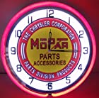 Mopar Chrysler Dodge 18 Double Neon Light Clock Parts Emblem Garage Ram Truck Tin Sign