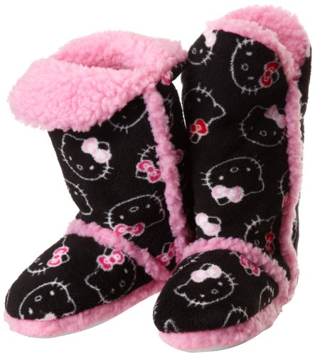 Hello Kitty Junior's Tall Sherpa Trim Slipper Bootie, Black, Medium