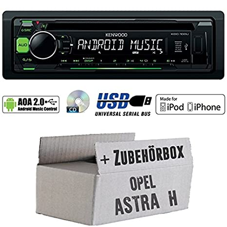 OPEL ASTRA H Noir-Kenwood de 100ug-CD/MP3/USB iPod/Android Commande Autoradio-Kit de montage