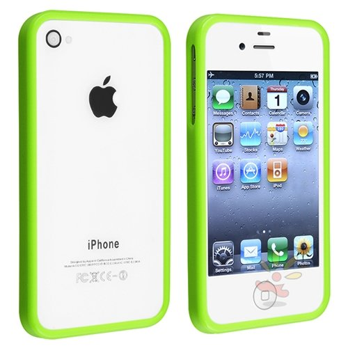 For Apple® iPhone® 4/4S Bumper TPU Case , Green Shinny
