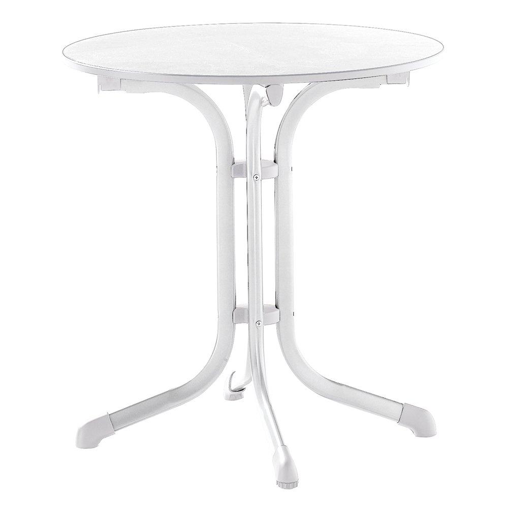 Sieger 1125-40 Boulevard-Tisch mit Puroplan-Platte Durchmesser 68 cm, Stahlrohrgestell weiß, Tischplatte Marmordekor weiß kaufen
