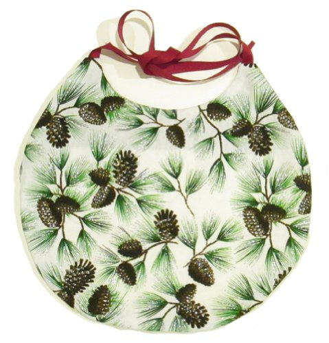 VTShop Bibs 10X10 Pine Cone, Music and Soft White Terry Cloth