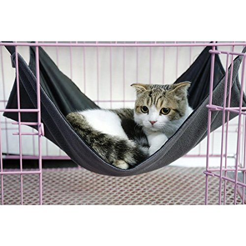 2-in-1-SummerWinter-Reversible-Pet-Cat-Cage-Hammock-Rabbit-Kitten-Hanging-Bed-Cat-Crib-Cradle-Radiator-Comforter-Basket-Cushion-Mat-Waterproof-Oxford-Fabric-Flannel-Support-Weight-up-to-15kg