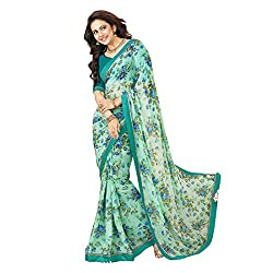 Pramukh saris Womens Georgette Flower Printed WIth Lace Work Sari(Green)