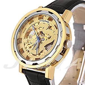 Gift In Box Sliver Gold Dragon Skeleton Dial Black Genuine Leather Atomatic Mechanical Men's Watch G8118-04