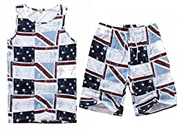MADHERO Men\'s Summer Union Jack Printing Beach Vest Housewear Shorts Leisure Suit Size S Printing Suit