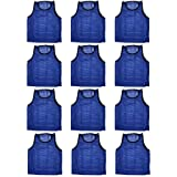 BlueDot Trading Youth High Quality 12 Blue Sports Pinnies- 12 High Quality Scrimmage Training Vests