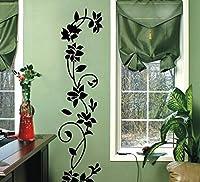 WOOTOP-The est Classic Black Rattan Flower Removable Vinyl Wall Decor Decal Sticker Black/FlowerRattan by WOOTOP