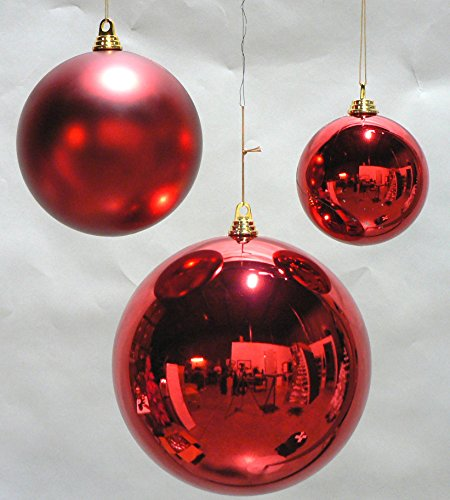 2 Large Shiny Red Christmas Ball Ornaments 12inch TWO ...
