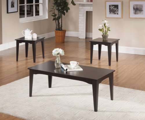 3 Pc. Kings Brand Espresso Finish Coffee Table & 2 End Tables Occasional Set (Brown Coffee Table Set compare prices)