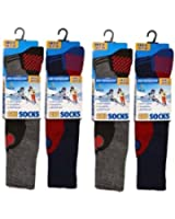 Kids/Boys Winter Thermal High Performance Ski Socks With Extra Cushioning Available in 3 Sizes 4 Pair Pack