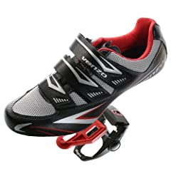 Venzo Road Bike For Shimano SPD SL Look Cycling Bicycle Shoes & Pedals Black by Venzo