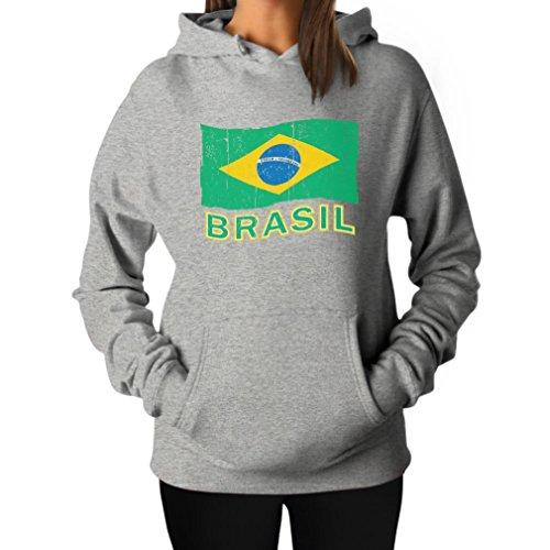Teestars Women'S - Brasil Flag Hoodie Small Grey