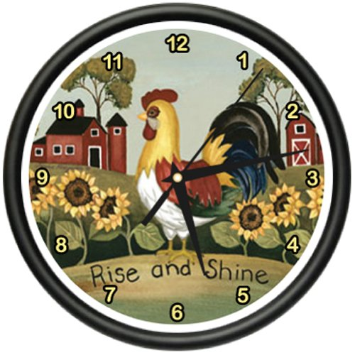 ROOSTER Wall Clock farmer kitchen home décor rise and shine