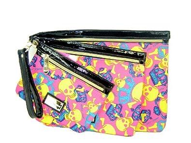 Betsey Johnson Skulls Clutch Handbag Cosmetic Make Up Bag Case Pouch Set Fuchsia