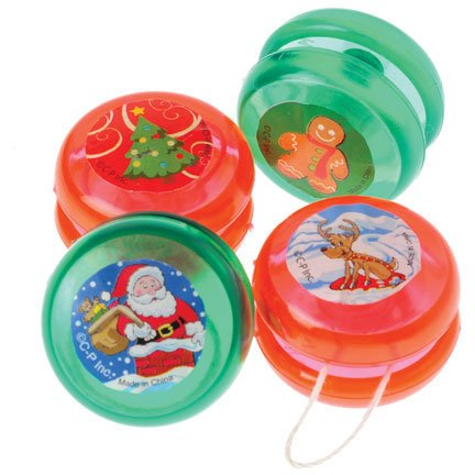 Lot Of 12 Assorted Christmas Theme Mini YoYo's - 1.25""