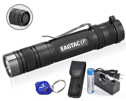 Eagletac D25Lc2 Clicky 850 Lumens Cree Xm-L2 U2 Led Flashlight W/ Eagletac 2500Mah 18650 Rechargeable Battery, Charger & Bright Lumentac Keychain Light