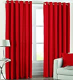 SWHF Red Solid Curtain Set of 2