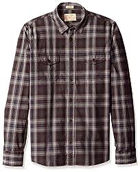 Rosé Pistol Men's Long Sleeve Jalama Checked Shirt, Cabernet, M