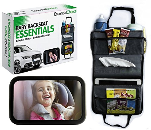 Premium Bundle - Baby Car Mirror & Backseat Car Organizer - Large Wide Rear View Baby Mirror & Kids Toy Car Storage Kick Mat- Makes a Great Gift (Car Mirror Baby Light compare prices)