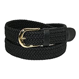 CTM® Womens Elastic Braided Stretch Belt, X-Large, Black