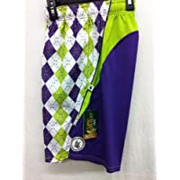 Flow Society Authentic Lacrosse Gear Mesh Shorts Performance Argyle Purple Lime Green Size Youth Medium