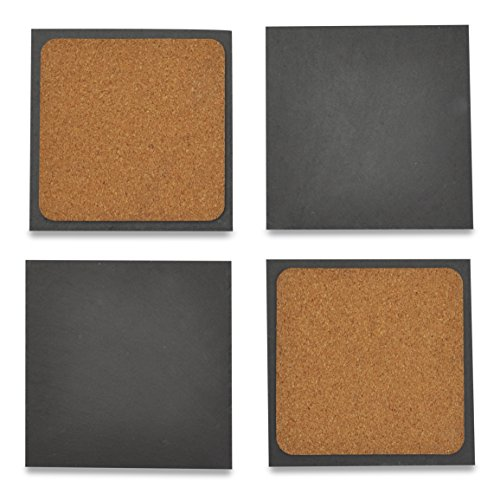 Slate Stone Coasters with Cork Bottom: Wine Glass Chalkboard Coaster Gift Box Set by Jetty Home (4 pcs)