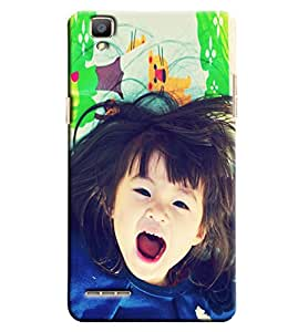 Blue Throat Little Girl Laughing Hard Plastic Printed Back Cover/Case For Oppo F1