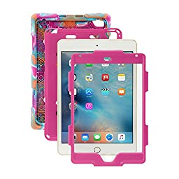 iPad Mini 4 Case, ACEGUARDER New Design [Rainproof] [Dirtproof] [Shockproof] [Kids Friendly] Case with Stand, Super Protection Case for iPad Mini 4 (2015) (Pink Camo Pink)