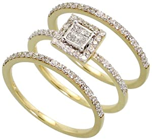 14k Gold Wedding Set Ring, w/ 0.60 Carat Brilliant Cut & Invisible-set Diamonds, 1/4 in. (7mm) wide, size 9