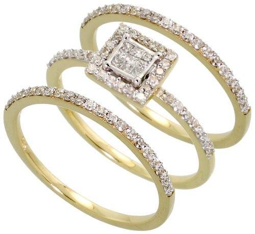 14k Gold Wedding Set Ring, w/ 0.60 Carat Brilliant Cut & Invisible-set Diamonds, 1/4 in. (7mm) wide, size 6