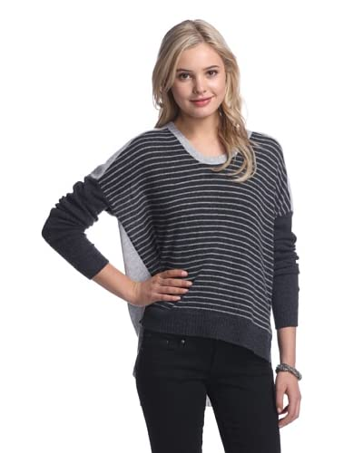 Qi Women's Nichole Striped Cashmere Sweater  [Charcoal Heather Combo]