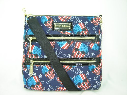 Betsey Johnson Patriotic Skulls Crossbody Handbag Purse Navy Multi