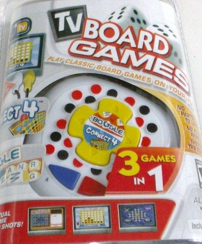 Imagen de Plug and Play TV clásico juego de mesa Conecta 4, Boggle, Roll Over, 3 juegos en 1