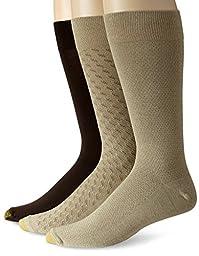 Gold Toe Men\'s Fashion 3 Pack L Crew Extended Sock, Winter Khaki/Olive/Bark, Shoe Size 12-16
