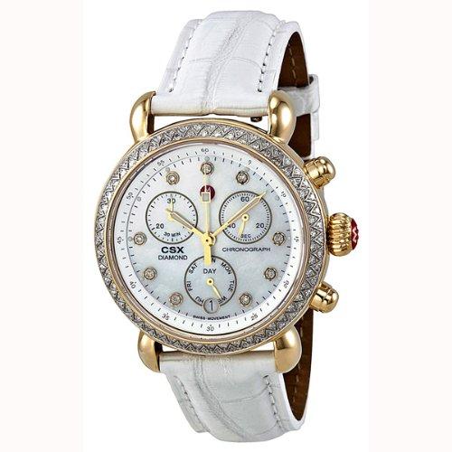 Michele Signature Csx-36 Diamond Gold, Diamond Dial White Alligator Mww03m000142