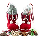 Holiday Gift Basket Christmas Santa Shoes Chocolate Candy and Nuts Gift Set, Stocking Stuffers - Oh! Nuts (Striped)