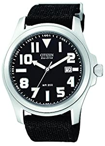 "Citizen Men's BM6400-00E ""Eco-Drive"" Stainless Steel and Canvas Watch"