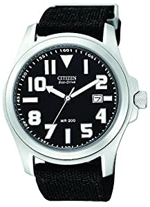 """Citizen Men's BM6400-00E """"Eco-Drive"""" Stainless Steel and Canvas Watch"""