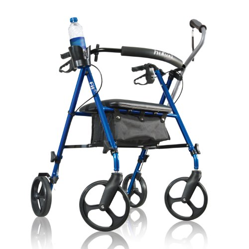 Hugo Mobility 700-915 Fit Rollator Walker with Seat and Bonus Cane Plus Cup Holder, Pacific Blue