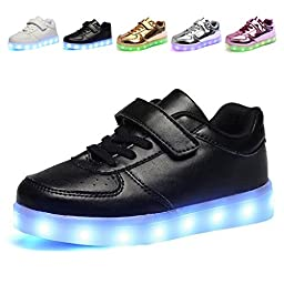 CIOR Kids Boy and Girl\'s 11 Color LED PU Sneakers Light Up Flashing Shoes,103,01,32