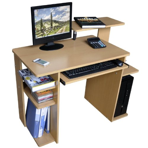 Office Workstation / Computer Desk - Generous Storage - Beech Finish.