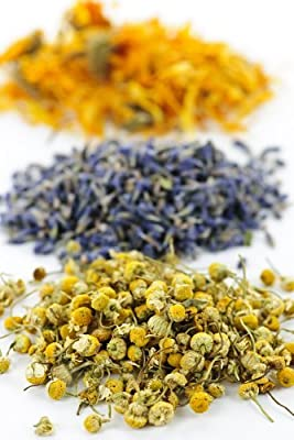 Herbal Bath Tub Tea Blend of Herbs : Helichrysum Italicum - Lavender - Chamomile / Pack of 3