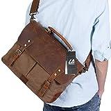 Langforth Vintage Messenger Bag Umhängetasche Aktentasche Schultertasche Laptoptasche Notebooktasche aus Canvas und Leder Kaffee