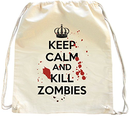 Mister Merchandise Zaino Borsa Sacco Keep Calm and Kill Zombies , Colore: Naturale