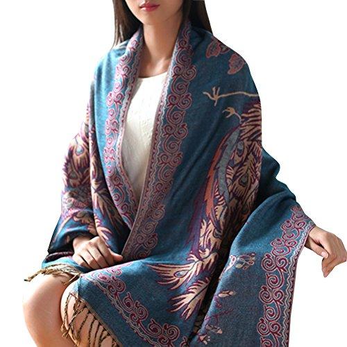 Women's Floral Ethnic Jacquard Tassel Winter Lengthen Scarf Pashmina Shawls (Sky Blue)