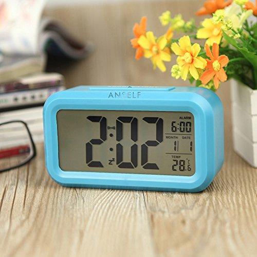 Anself-LED-Digital-Alarma-despertador-Reloj-Repeticin-activada-por-luz-Snooze-Sensor-de-luz-Tiempo-Fecha-Temperatura