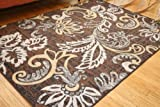 Generations Brand New Contemporary Floral Modern Squares Area Rug, 2' x 3', Brown/Rust/Gold/Beige