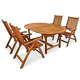 indoba-IND-70068-BASE5-Serie-Bali-Gartenmbel-Set-5-teilig-aus-Holz-FSC-zertifiziert-4-Gartensthle-verstellbar-und-klappbar-ovaler-Gartentisch-ausklappbar