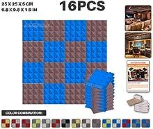 Ace Punch 16 Piezas de 2 Colores Pirámide de la Espuma Acústica Panel de Bricolaje Estudio del Diseño Acústico Revestimientos Aislantes de Sonido con Libre Montaje Tabs 25 x 25 x 5 cm AP1040
